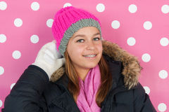 Portrait teen girl in winter Royalty Free Stock Photos