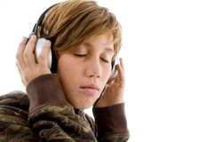 Portrait of teen listening music Stock Image