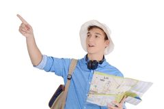 Portrait of teen turist traveling with map. Travel concept. Isolated white background Royalty Free Stock Photo
