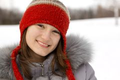 Portrait of a teen in winter Royalty Free Stock Photo