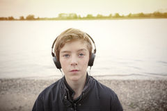 Portrait of a teenage boy with headphones Stock Image