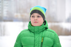 Portrait of  teenage boy in the nature  winter Royalty Free Stock Images