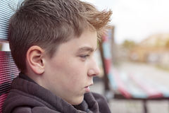 Portrait of a teenage boy. In profile Royalty Free Stock Photo