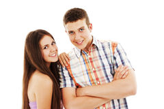 Portrait of a teenage boy and teenage girl Royalty Free Stock Photo