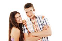 Portrait of a teenage boy and teenage girl Royalty Free Stock Photo