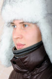 Portrait of teenage boy in winter clothes Stock Images