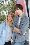 Portrait of a teenage couple Stock Images