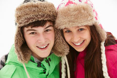 Portrait Of Teenage Couple In Snow Stock Image