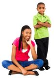 Portrait of teenage girl with boy. Portrait of a teenage girl smiling with a boy isolated over white Stock Photos