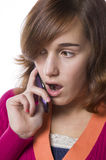 Portrait of a teenage girl and cellphone Royalty Free Stock Photos