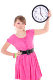 Portrait of teenage girl with clock isolated over white backgrou Royalty Free Stock Photography