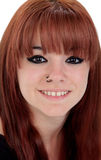Portrait of teenage girl dressed in black with a piercing Stock Photo