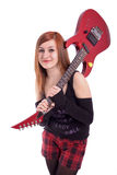 Portrait of a teenage girl with guitar Royalty Free Stock Images