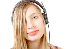 Portrait of teenage girl with headphone Stock Images