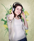 Portrait of teenage girl in headphones Stock Photo
