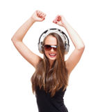 Portrait of a Teenage Girl with Headphones Stock Photos