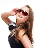 Portrait of a Teenage Girl with Headphones Stock Photography