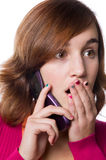 Portrait of a teenage girl and her cellphone Royalty Free Stock Image