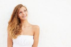 Portrait Of Teenage Girl Leaning Against Wall Royalty Free Stock Photos
