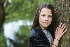 Portrait near tree Royalty Free Stock Images