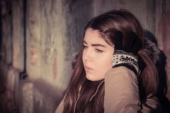 Portrait of a teenage girl outdoor wearing winter coat Royalty Free Stock Image