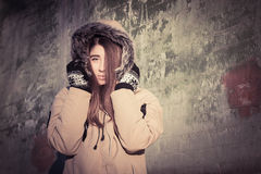 Portrait of a teenage girl outdoor wearing winter coat Stock Photo