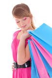 Portrait of teenage girl with shopping bags Royalty Free Stock Photos