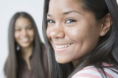 Portrait of a teenage girl smiling stock images