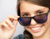 Portrait  teenage girl with sunglasses Royalty Free Stock Image