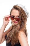 Portrait of a Teenage Girl with Sunglasses Stock Photos