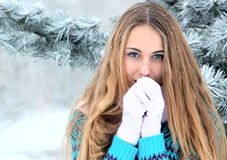 Portrait of teenage girl in winter park Royalty Free Stock Image