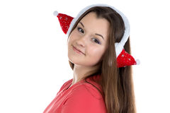 Portrait of teenage girl with xmas headphones Royalty Free Stock Photos