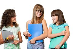 Portrait of teenage students with files. Royalty Free Stock Image