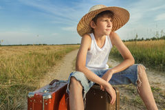 Portrait of teenage traveler hoping and waiting Royalty Free Stock Image