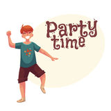 Portrait of teenaged red haired boy in shorts dancing Stock Photo