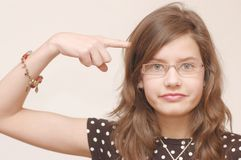 Portrait of teenager. Portrait of teenage girl in glasses(emotions Stock Photography