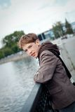 Portrait of teenager on background of river Stock Photos