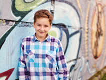 Portrait of the teenager boy in outdoors Royalty Free Stock Photos