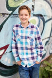 Portrait of the teenager boy in outdoors Stock Photos