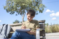 Portrait of a teenager boy sitting doing his homework. Portrait of a teenager boy sitting on a wood park bench doing his college homework and studying writing Stock Images