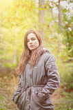 Portrait of a teenager girl with green parka Royalty Free Stock Photos