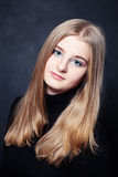 Portrait of Teenager Girl with Long Blonde Hair Stock Images