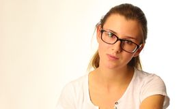 Portrait of teenager girl weared glasses stock video footage