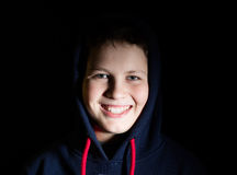 Portrait of a teenager in a hood Stock Photo