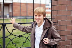 Portrait of teenager in  jacket Stock Image