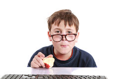 Portrait of a teenager with a keyboard stock photo