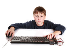Portrait of a teenager with a keyboard Royalty Free Stock Photo