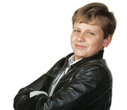 Portrait of the teenager in a leather jacket Royalty Free Stock Images