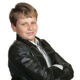 Portrait of the teenager in a leather jacket Royalty Free Stock Photography