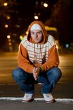 Portrait of teenager at night royalty free stock photo